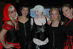 Marianne, Hope, Leanna, and Stacey as fairytale femmes a la Goth.