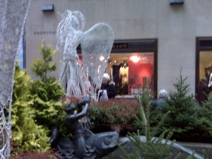 Rockefeller Center. No Christmas tree yet but an angel and a fish fountain are almost as good.