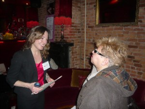 Hope chats with a guest during the meet-and-greet.