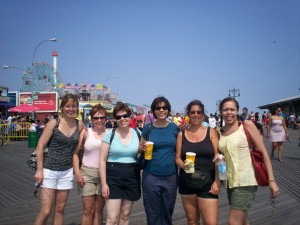 Hope (Far L) at Coney Island last summer with RWA/NYC friends, including Karen Cino & Elizabeth Mahon (Far R).