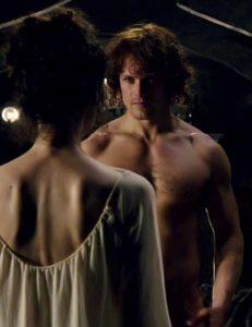 Catriona Balfe and Sam Heughan in Outlander, based on the historical fiction novels by Diana Gabaldon
